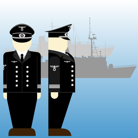 world war ii: German sailors and ships in World War II. The illustration on a white background.