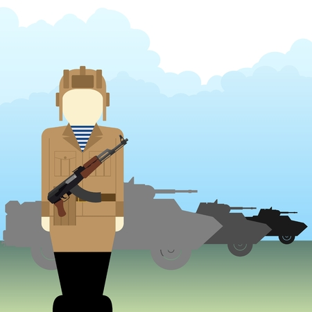car clothes: The soldier with an automatic weapon on the background of an armored car. The illustration on a white background.