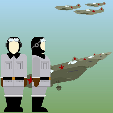 pilots: Military aircraft and Soviet military pilots in World War II. The illustration on a white background. Illustration