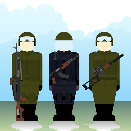 special forces: Special Forces soldiers with automatic weapons. The illustration on a white background.