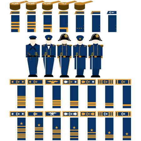 civil war: Insignia Confederate naval officers in the Civil War the United States. The illustration on a white background.