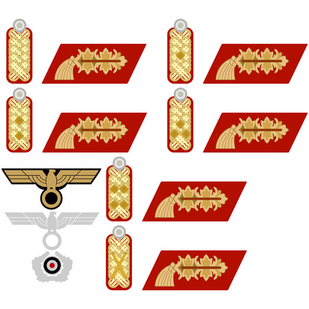 wehrmacht: Insignia generals Wehrmacht in Nazi Germany. The illustration on a white background.