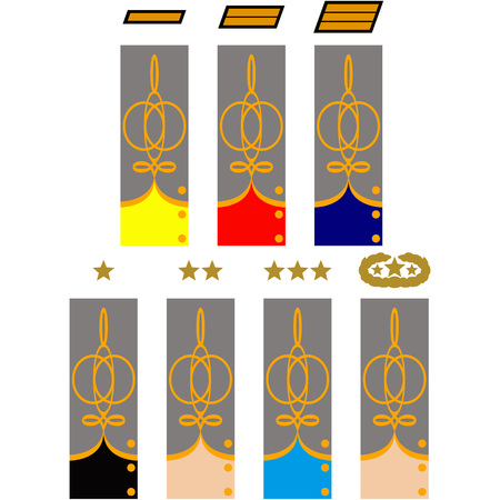 civil war: Sleeve and collar insignia of officers CSA during the American Civil War. The illustration on a white background.