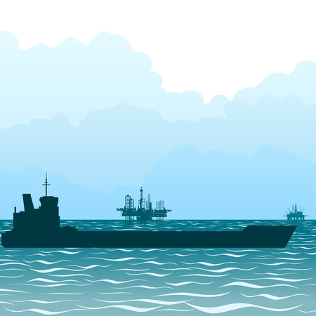 sea tanker ship: Transportation of oil through the sea by sea. The illustration on a white background. Illustration