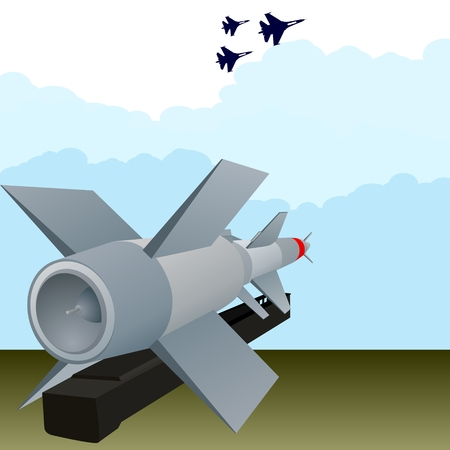 defense: Missile air defense units and military aircraft in the sky. Illustration