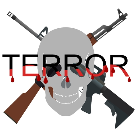 terror: The word terror against the background of a human skull and automatic weapons. The illustration on a white background.