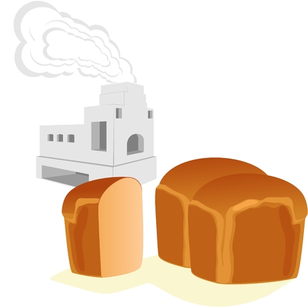stove pipe: Bread and Russian stove for cooking and heating homes. The illustration on a white background.