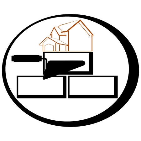 bricklaying: Icon with a trowel for bricklaying. The illustration on a white background.