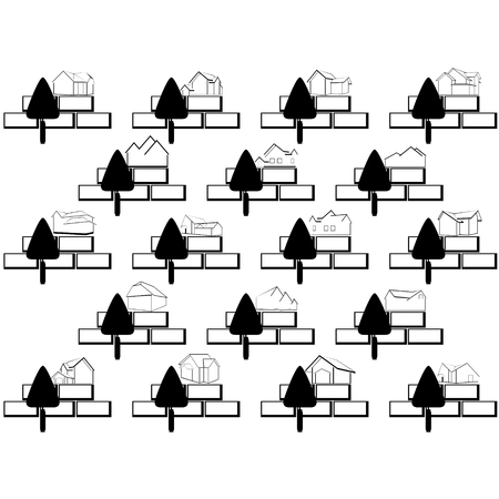 bricklaying: Icons with a trowel for bricklaying. The illustration on a white background.