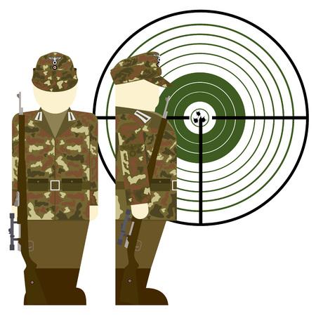 world war ii: German sniper in World War II. The illustration on a white background.