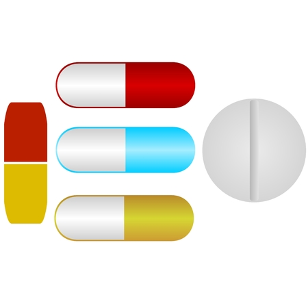 medications: Pharmaceutical medications. The illustration on a white background.