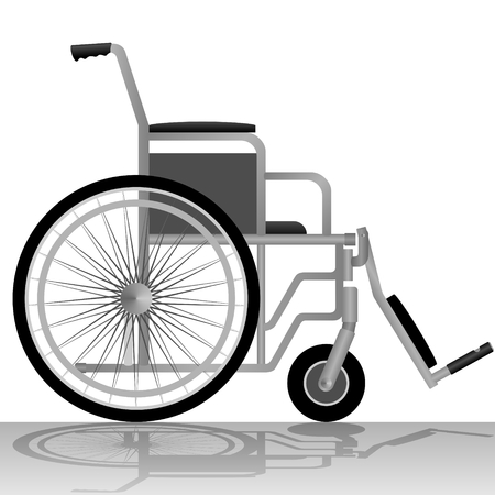 medicine wheel: Medical equipment and tools. Wheelchair for people with disabilities. The illustration on a white background. Illustration
