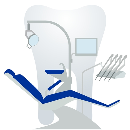 dental chair: Medical equipment. Dental chair on a background of the tooth. The illustration on a white background.