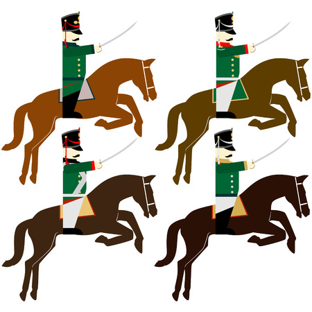 cavalry: Army soldiers in Russian uniforms and weapons were used in the 1812 war. The illustration on a white background.