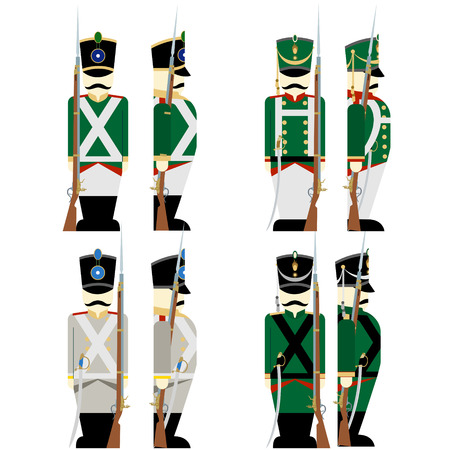 musket: Army soldiers in Russian uniforms and weapons were used in the 1812 war. The illustration on a white background.