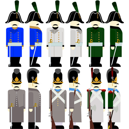 Soldiers of the army of Bavaria in uniform and weapons were used in the 1812 war. The illustration on a white background.  イラスト・ベクター素材