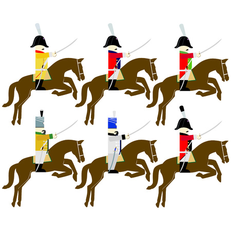 cavalry: Soldiers of the army of Saxony in uniforms and weapons were used in the 1812 war. The illustration on a white background.