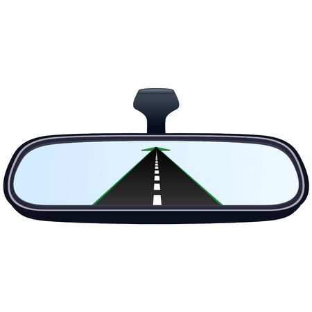 reflection mirror: Reflection of the highway in a car mirror. The illustration on a white background.