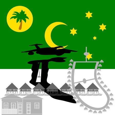 cocos: National flag of Cocos Islands and architectural attractions. The illustration on a white background. Illustration