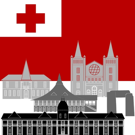 tonga: National flag of Tonga and architectural attractions. The illustration on a white background. Illustration