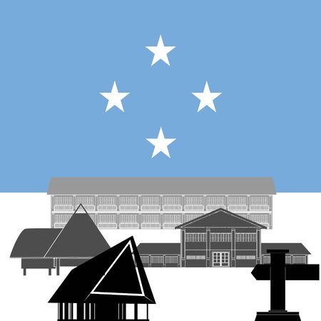 federated: National flag of Federated States of Micronesia and architectural attractions. The illustration on a white background.