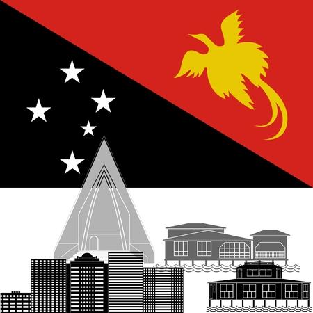 Nuova Guinea: Bandiera nazionale della Nuova Guinea e attrazioni architettoniche. L'illustrazione su uno sfondo bianco. Vettoriali