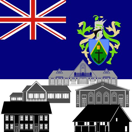 pitcairn: National flag of Pitcairn Islands and architectural attractions. The illustration on a white background.