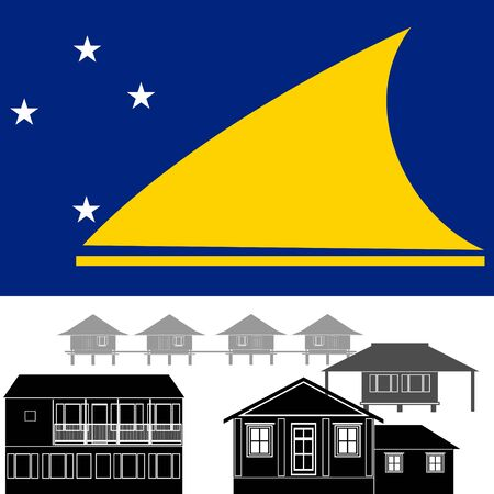 tokelau: National flag of Tokelau and architectural attractions. The illustration on a white background.
