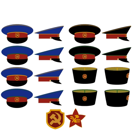 militia: Insignia and headgear RSFSR militia after the 1917 October Revolution. The illustration on a white background.