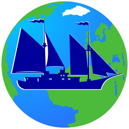 sailing ship: Ancient sailing ship on the background of the Earth. The illustration on a white background. Illustration