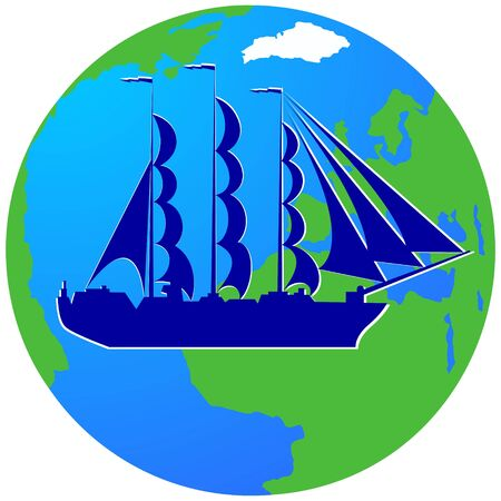 frigate: Ancient sailing ship on the background of the Earth. The illustration on a white background. Illustration