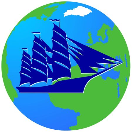 corvette: Ancient sailing ship on the background of the Earth. The illustration on a white background. Illustration