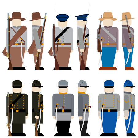civil war: The Armed Forces of the Confederate army in the Civil War the United States. The illustration on a white background. Illustration