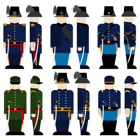 civil war: The Armed Forces of the Union army in the Civil War the United States. The illustration on a white background.