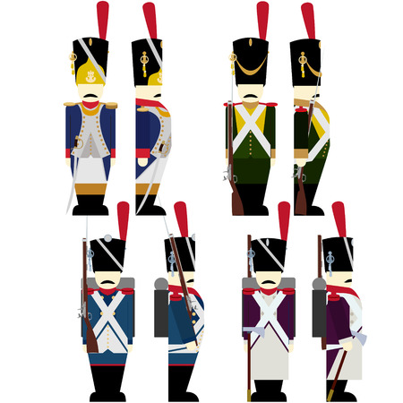 infantry: French Army soldiers in uniforms and weapons were used in the 1812 war. The illustration on a white background. Illustration