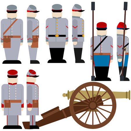 confederation: Gunners of the Armed Forces of the Confederation during the US Civil War. The illustration on a white background.
