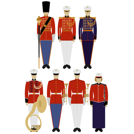 us army: Insignia and military uniforms of the US Army Military Band. The illustration on a white background.