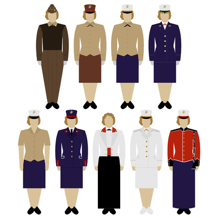 us army: Insignia and female military uniform of the US Army. The illustration on a white background. Illustration