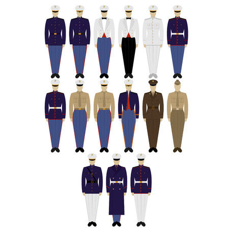 us army: Insignia and military uniforms of the US Army. The illustration on a white background.