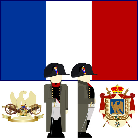 napoleon: The coat of arms and flag of France during the reign of Emperor Napoleon. The illustration on a white background.