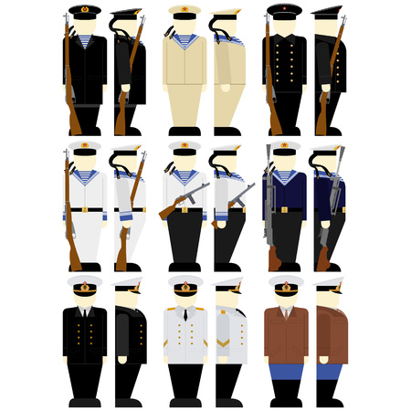 holster: Uniforms and weapons of Soviet soldiers and officers of the Navy in the Second World War. The illustration on a white background.