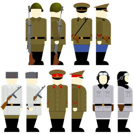 second world war: Uniforms and weapons of Soviet soldiers and officers in the Second World War. The illustration on a white background.