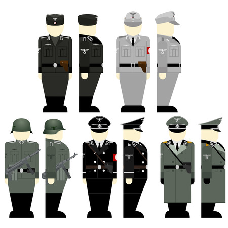 wehrmacht: Uniforms and weapons of soldiers and officers of the Wehrmacht in the Second World War. The illustration on a white background. Illustration