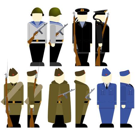 Uniformes et armes de soldats et officiers soviétiques dans la Seconde Guerre mondiale. L'illustration sur un fond blanc.