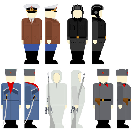 soviet: Uniforms and weapons of Soviet soldiers and officers in the Second World War. The illustration on a white background.