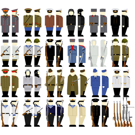 holster: Uniforms and weapons of Soviet soldiers and officers in the Second World War. The illustration on a white background.