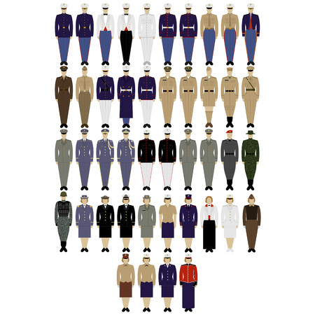 Insignia and military uniforms of the US Army. The illustration on a white background.