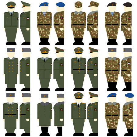Uniforms and insignia of soldiers and officers of the Russian Federation. The illustration on a white background. Illustration