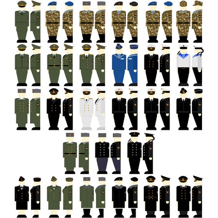 garrison: Uniforms and insignia of soldiers and officers of the Russian Federation. The illustration on a white background. Illustration