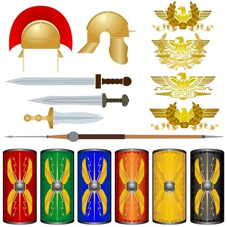 roma antigua: Las armas y los s�mbolos de las legiones de Roma antigua. La ilustraci�n sobre un fondo blanco. Vectores